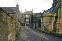 Cena da rua de Haworth, ocidental - yorkshire, Inglaterra Fotografia de Stock