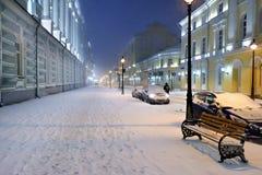 Cena da rua do inverno de Moscou, Rússia Fotografia de Stock Royalty Free