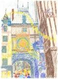 Cena da rua do Natal do La Horloge grande Rouen França Ilustração do Vetor
