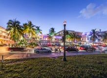 Cena da rua em Art Deco District de Miami Fotografia de Stock