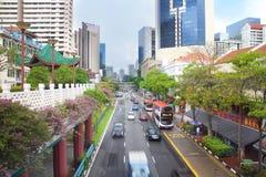 Cena da rua perto do quartel dos bombeiros de Singapura Fotografia de Stock