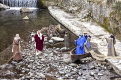 Cena da vida de Jesus A captura miraculosa dos peixes foto de stock royalty free