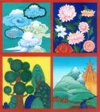 cena de 4 asiáticos no tema da natureza: nuvens, flores, árvores, mo Imagem de Stock Royalty Free