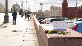 A cena de assassinato de Boris Nemtsov em Moscou video estoque