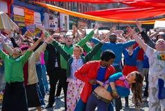 Cena de Bollywood no mercado do vegetal de Dublin Foto de Stock