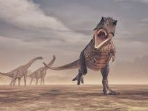 Cena de Jurrasic - um ataque feroz do dinossauro de Trex Imagem de Stock