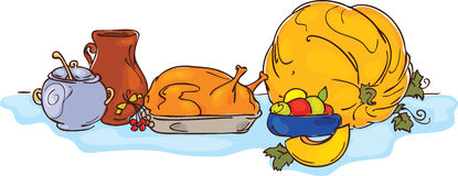 Cena de la acción de gracias Stock de ilustración