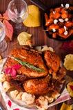Cena de la acción de gracias con el pollo Imagen de archivo libre de regalías