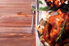 Cena de la acción de gracias con el pollo Fotografía de archivo libre de regalías