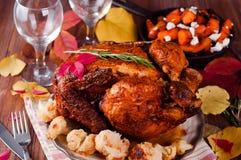 Cena de la acción de gracias con el pollo Foto de archivo libre de regalías