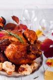 Cena de la acción de gracias con el pollo Imagen de archivo