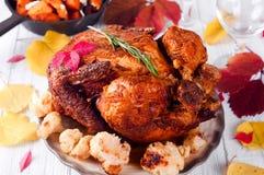 Cena de la acción de gracias con el pollo Imagenes de archivo
