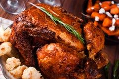 Cena de la acción de gracias con el pollo Foto de archivo