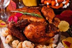 Cena de la acción de gracias con el pollo Fotos de archivo