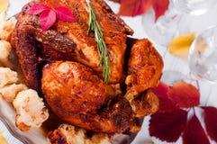 Cena de la acción de gracias con el pollo Fotografía de archivo