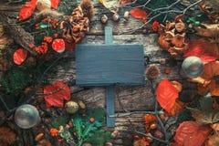Cena de la acción de gracias en la madera Imágenes de archivo libres de regalías