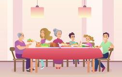 Cena de la familia Celebración del día de la Navidad o de la acción de gracias Familia que come junto libre illustration