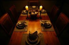 Cena de la luz de una vela Imagenes de archivo