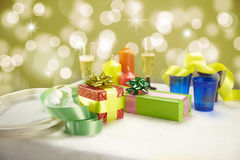 Cena de la Navidad en el país Imagenes de archivo