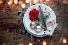 Cena de la Navidad en estilo elegante lamentable Imagen de archivo libre de regalías