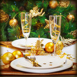Cena de la Navidad en restaurante Imagen de archivo
