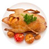 Cena de la Navidad. Pato de carne asada Fotografía de archivo libre de regalías