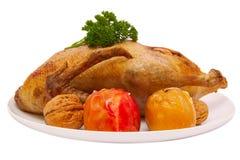Cena de la Navidad. Pato de carne asada Foto de archivo