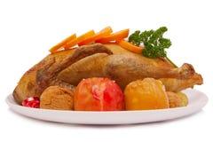 Cena de la Navidad. Pato de carne asada Fotos de archivo libres de regalías