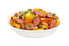 Cena de la patata y de la salchicha Imagen de archivo