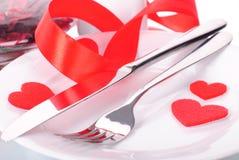Cena de la tarjeta del día de San Valentín Fotografía de archivo libre de regalías