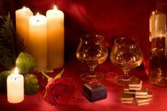 Cena de la tarjeta del día de San Valentín Imagen de archivo libre de regalías