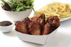 Cena de las alas de pollo fotos de archivo libres de regalías