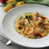 Cena de las pastas del camarón Imagen de archivo libre de regalías