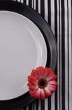 Cena de las placas con la flor del gerbera. Fotos de archivo