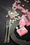 Cena de las tarjetas del día de San Valentín Foto de archivo libre de regalías