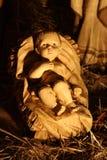 Cena de madeira da natividade do bebê Jesus Imagem de Stock Royalty Free