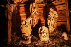 Cena de madeira da natividade do nascimento de Cristo Imagem de Stock