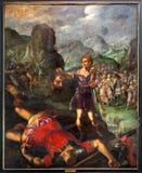 Cena de Mechelen - de David e de colosso. Pintura pelo pintor De Sayvede Oude do ano 1624 em St. Rumbold imagens de stock