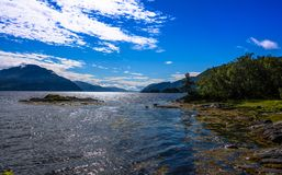 Cena de Serene Scandinavian Fjord Imagens de Stock