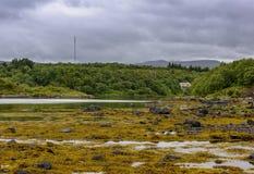 Cena de Serene Scandinavian Fjord Village Imagens de Stock