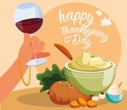 Cena de Turquía del día de la acción de gracias con los iconos determinados stock de ilustración