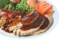 Cena del cerdo de carne asada de domingo Imagen de archivo