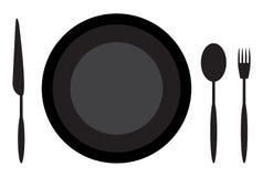 Cena del cuchillo y de la bifurcación de la cuchara de la placa de la etiqueta Fotografía de archivo libre de regalías