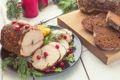Cena del día de fiesta de la Navidad Pecho de pollo relleno Foto de archivo