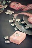 Cena del día de tarjetas del día de San Valentín Imagen de archivo libre de regalías