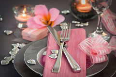 Cena del día de tarjetas del día de San Valentín Foto de archivo libre de regalías