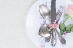 Cena del día de tarjetas del día de San Valentín Imagenes de archivo