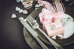 Cena del día de tarjetas del día de San Valentín Imágenes de archivo libres de regalías