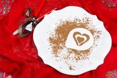 Cena del día de tarjetas del día de San Valentín  Fotografía de archivo libre de regalías