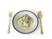 Cena del dinero Fotografía de archivo libre de regalías